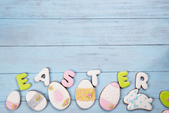 Sweets for celebrate Easter. Gingerbread in shape of easter eggs. (lyule4ik) Tags: easter background celebration decoration decorative egg food holiday season spring tradition wood wooden happy cookies concept design natural rustic springtime texture traditional banner biscuits card celebrate closeup eggs filter flower wishes toned sprinkles white colored letter brown nest frosting bright homemade basket horizontal april shortcrust text sweet chicken nobody bakery