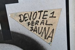 Devote 1 Feral Sauna, Oakland, CA (Robby Virus) Tags: oakland california bay area east sticker slap devote 1 feral sauna cryptic triangle