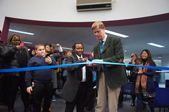 Stephen Timms MP& Peter Mawengi openign the JtoJ Newham exhibition 030318