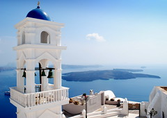high above the caldeira (mujepa) Tags: church caldera belltower bells imerovigli oia santorini santorin greece blue clocher cloches