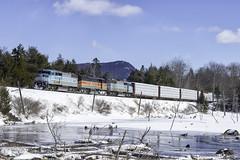 Job 1 at MP19 (Thomas Coulombe) Tags: centralmainequebec cmq emdsd402f gmdsd402f sd402f freighttrain train job1 snow onawa maine mooseheadsub