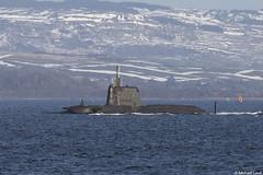Unidentified RN nuclear powered Astute-class attack submarine; Firth of Clyde, from the Cowal Peninsula, Argyll & Bute, Scotland (Michael Leek Photography) Tags: ship warship nato navalvessel faslane hmnbclyde nuclearsubmarine astuteclass attacksubmarine rn royalnavy britainsnavy britainsarmedforces firthofclyde clyde scotland scottishshipping scotlandinwinter lochlong gareloch scottishlandscapes scottishcoastline michaelleek michaelleekphotography strone cowal argyllandbute argyll