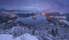 Bled on a winter evening (Dreamy Pixel) Tags: alpine alps architecture beautiful bled blue castle catholic church cliff cold color cool culture dusk europe european evening famous foggy holiday idyllic island january julian lake landscape mountain nature night old outdoors place reflection religion romantic sky slovenia slovenian snow sunset tourism tower travel tree twilght vacations view water winter