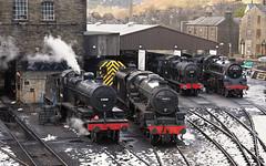 Pre-Gala Line-Up In Haworth Yard. (Neil Harvey 156) Tags: steam steamloco steamengine steamrailway railway 53808 44871 43924 75078 haworthyard haworth keighleyworthvalleyrailway kwvr worthvalleyrailway sd7f 7f lms black5 stanier fowler4f midland4f 4f brstandardclass4 brstandardloco riddles