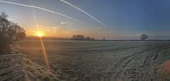 Frosty Sunrise Panorama (LindaShaws Images) Tags: frost frosty panorama sunrise glow fields village countryside orange iphone cold march morning staffordshire uk cloudsstormssunsetssunrises