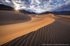 Ibex Sunrise (David Swindler (ActionPhotoTours.com)) Tags: california deathvalley dunes ibex ibexdunes sanddunes southwest desert dune ripple ripples sanddune sunburst sunrise