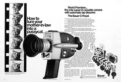 """Bauer C-Royal super-8 movie camera advertisement. (Jerry Vacl) Tags: advertisement bw photomagazine micronikkor40mmf28gdx nikond7200 1969september""""popularphotography""""magazine moviecameras bauer bauercroyal"""