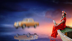 Enjoying The Peace While A Mercedes Is Falling Down! (Alfred Grupstra) Tags: people women outdoors females oneperson red nature summer travel sky sunset youngadult adult nauticalvessel beautiful blue lifestyles caucasianethnicity sea abstract car mercedes