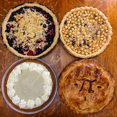 π Day Pies, 2018 (djwtwo) Tags: eastfreetown massachusetts unitedstates us pi day pies baking dessert matcha hazelnut chocolate cherries streusel apple pie