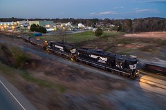 Pan From Above (lukeharwell) Tags: night sunset dusk drone city industrial gastonia charlotte track freight railroad railway train horsehead highhood norfolksouthern southern emd gp382