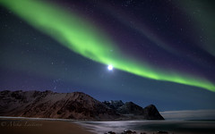 Sweet Aurora (Mika Laitinen) Tags: canon5dmarkiv europe lofoten norway norwegiansea scandinavia auroraborealis beach cold colorful landscape longexposure moon mountain nature night northernlights ocean outdoors sea shore sky stars water winter nordland no