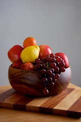 Wooden Fruit Bowl (The Good Brat) Tags: fruit stilllife food bowl wood wooden lemon grapes apples orange nectarine table