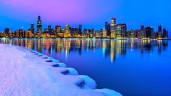 Chicago's Winter Skyline at Dawn (Insite Image) Tags: chicago illinois ice snow lake lakemichigan bluehour sunrise skyline cityscape adlerplanetarium sky water dawn greatlakes