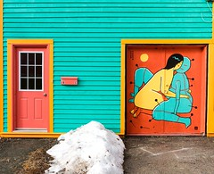 Mural (Karen_Chappell) Tags: mural orange green art city urban door house home building colourful multicoloured colours stjohns downtown canada atlanticcanada avalonpeninsula snow newfoundland nfld eastcoast yellow jellybeanrow rowhouse paint painted wood wooden clapboard architecture red