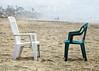 Conversation (lorinleecary) Tags: california californiacentralcoast cayucos chairs people artography beaachscapes digitalart fog manipulatedimage textured