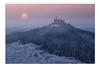 Burg Hohenzollern (SonjaS.) Tags: sonnenuntergang doppelbelichtung burghohenzollern schwäbischealb sunset nebel nebelig sonne