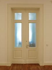 the door (vertblu) Tags: door glasspanes whitebrown white blue parquet parquetfloor hall corridor indoor vertblu frameandpaneldoor oldbuilding olderbuilding doublewinged