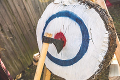 Taylor's Axe Throwing 33rd Birthday Party-3968 (taylorsloan) Tags: axe ax throwing party birthday idea diy buildyourown axethrowing stump