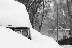 Winter (alexey & kuzma) Tags: 2018 winter snow car zhiguli fujifilm xt20 monochrome snowing