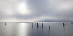 Silvery Morning by SF Bay (milton sun) Tags: morning sfbay sausalito california sanfrancisco foginsf longexposure seascape bay ngc bayarea wave ocean shore seaside coast westcoast pacificocean landscape outdoor clouds sky water sea sand beach cliff nature