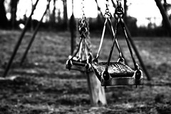 """This Used To Be My Playground"" (tonyajbender) Tags: playground swings old ruin dilapidated wasting childhood innocence regret blackandwhite rustic growing up nostalgic photochallenge2018 trevorcarpenterphotochallenge madonna music song"