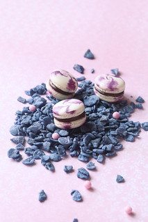 Macarons with Chocolate Blueberry and Violet Filling