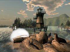 The Brewster Island Lighthouse (Tevor Z) Tags: lighthouse water seal seals rocks harbor massechussetts boston massachussett brewsterislands secondlife harbour