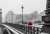 DSC_5884-2 (deborahb0cch1) Tags: bridge snow red redcoat umbrella redumbrella desaturation desaturate river paris seine snowstorm street light streetlight perspective diagonal centralparis
