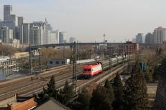 I_B_IMG_8436 (florian_grupp) Tags: asia china locomotive train railway railroad passenger diesel electric beijing station citywall beijingmainstation chaoyang peking cnr chinanationalrailway traffic bluesky