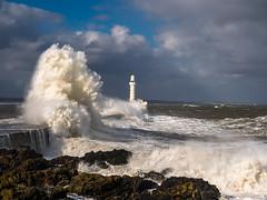 Aberdeen breakwater. (frodekoppang) Tags: waves scotland lighthouse ocean sea storm forcesofnature cliffs aberdeen