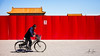 The Forbidden City (Beijing, China 2016) (Alex Stoen) Tags: alexstoenphotography beijng bicycle cyclist forbiddencity happiness heritage leicamptyp240 palace pekin roof summiluxm35mm transportation travel vacation wall contrast creativecomposition forward future mobility red china