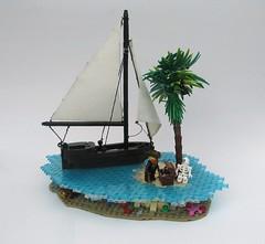 Finders Keepers... (Robert4168/Garmadon) Tags: lego pirates brethrenofthebrickseas sloop island water underwater blue trans fish skeleton treasure chest gold palm tree captainunriggednordau