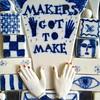 a portion of the R (muffett68 ☺ heidi ☺) Tags: ceramic mosaic fullercraftmuseum marasuperior makersgottomake hands blueandwhite squarecrop