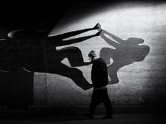 between the shadows (Sandy...J) Tags: street streetphotography sw schwarzweis strasenfotografie stadt shadow deutschland darkness dark dunkelheit noir olympus monochrom man mono mann germany grafitti atmosphere alone atmosphäre city urban underpass unterführung tunnel fotografie photography walking wall wand mauer