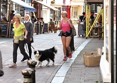 Hastings Old Town - May 2017 - Embarrassed Daughter Candid 1 (Gareth1953 All Right Now) Tags: beautiful mature woman girl mother daughter together walking schooluniform shorts shorthair talking pink yellow tattoo collie blonde bollards cafeculture thighs