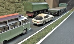 Heavy Traffic on the ByPass (ManOfYorkshire) Tags: dualcarriageway bypass oxforddiecast diecast scale models basetoys thorneycroft lorry lorries trucks atkinson flatbed tanker vw volkswagen t2 camper jenseninterceptor sidebyside overtaking