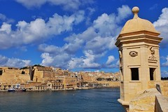 Senglea Point (Douguerreotype) Tags: boat fort tower buildings cityscape city malta blue valletta architecture water