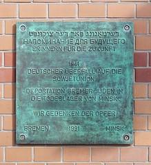 - (txmx 2) Tags: bremen gedenktafel memorial minsk deportation jews ww2 plaque