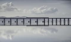 Take the Train (daedmike) Tags: scotland fife tayside dundee train reflection clouds tayriver taybridge water river mirror bridge railway
