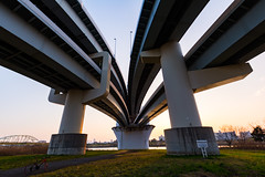 Convergence (tokyobogue) Tags: tokyo japan river nikon nikond7100 d7100 tamron tamron1024mmdiiivc arakawa bridge sunset curves architecture urban city cityscape bicycle goshikizakuraobridge goshikizakurao