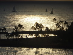 A different kind of sunset image (peggyhr) Tags: peggyhr sunset lagoon ocean coconuttrees island sailboats silhouettes light dsc07808a hawaii reflections backlit thegalaxy thegalaxystars