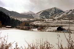 1a-323 (ndpa / s. lundeen, archivist) Tags: nick dewolf nickdewolf photographbynickdewolf 1977 1970s color 35mm film 1a reel1a aspen colorado fall autumn snow november rockymountains foxhunt hunt woodycreek woodycreekhounds roaringforkvalley roaringforkhunt landscape fence ranch building buildings house barn trees valley mountains skitrails buttermilk aspenhighlands highlands field tiehack roaringforkhounds