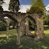 Ruins of imitation ruins - 'Abbey Gardens' park, Abingdon-on-Thames, Oxfordshire, England (edk7) Tags: nikond300 edk7 2010 uk england oxfordshire abingdon abingdononthames abbeygardens trendellsfollyc1875 imitationgothicruins stone architecture building oldstructure park tree lawn grass city cityscape urban stonework stonecarving sky cloud