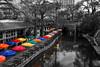 week 10 vision selective color (melaniemoree) Tags: sanantonio sanantoniotx riverwalk sanantonioriverwalk casario umbrella reflection selectivecolor dogwood2018 dogwood2018week10