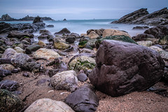 Jigsaw puzzle (NikNak Allen) Tags: plymouth devon heybrookbay bay coast beach sand pebbles stone stones rock rocks water sea ocean jagged smooth horizon sky blue low nd pov early morning exposure longexposure seascape shapes patterns wide