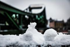 Eiserner Steg and snow (Sam García GA.) Tags: frankfurt germany europe eisernersteg bridge meno river snow snowflake
