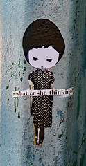 -What is she thinking? (TheMachineStops) Tags: 2018 nyc newyorkcity manhattan outdoor illustration face phoebenewyork pasteup sticker wheatpaste streetart urbanart