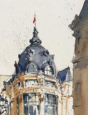 Sketching in front of L'Hôtel de Ville, Paris. (alexhillkurtzart) Tags: