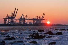 Im ewigen Eis (Lilongwe2007) Tags: hamburg deutschland eis winter schnee elbe wasser fluss frost kälte sonnenuntergang hafen containerbrücken industrie schiffe dockland