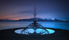 Life on Mars (wolffslicht) Tags: reykjavik iceland sculpture art solfar sunvoyager sea water sky mountains space scifi